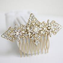 Gold Bridal Hair Comb Filigree Wedding Head Piece, Vintage Pearl
