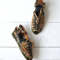 Madame Butterfly Wedges • Vintage 1930s Silk Shoes • 30s Chinese