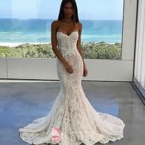 Modern Lace Strapless Sweetheart Spring Winter Mermaid Wedding