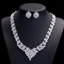 New Design Gorgeous Marquise Shape Full Blue Red Cz Necklace