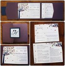 Purple Love Birds In A Navy Fall Tree Horizontal Pocketfold