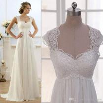 Discount Vintage Modest Wedding Gowns Capped Sleeves Empire Waist
