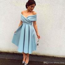 Hot Sale 2016 Evening Dresses New Simple But Elegant Sky Blue Off