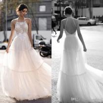 Discount 2018 Gali Karten Wedding Dresses Backless Halter Neck
