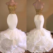 Custom Made Mermaid Prom Dresses 2017 Top Gold Applique And White