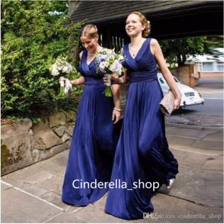 Simple Design Vintage Bridesmaid Dresses Navy Blue V Neck Floor