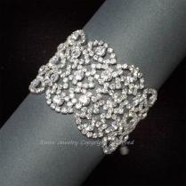 Rhinestone Wedding Bracelet, Bridal Cuff Bracelet, Vintage Style