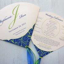 Royal Blue & Apple Green Swirly Vine Wedding Invitations & Program