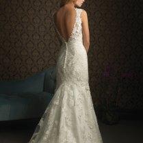 Sexy Deep V Neck Low Back Lace Mermaid Wedding Dress, Awg0100