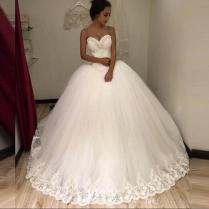 Strapless Sexy 2018 New White Beaded Lace & Tulle Ball Gown