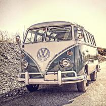 Surfer's Vintage Vw Samba Bus At The Beach Photograph By Edward