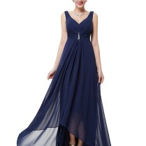 V Neck V Back Shoulder Straps Navy Blue Vintage Bridesmaid Dresses