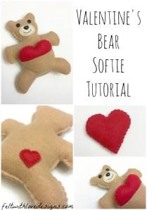 Valentine's Bear Softie {tutorial Free Pattern}