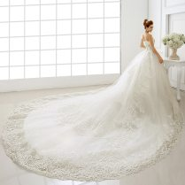 Wedding Dresses 2016 Bride Tube Top Cathedral Royal Train Straps