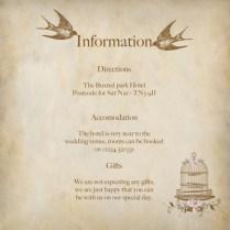Wedding Invitation Information Vintage Birdcage Information Insert