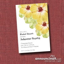 Yellow Hibiscus Hawaiian Floral Party Invitations