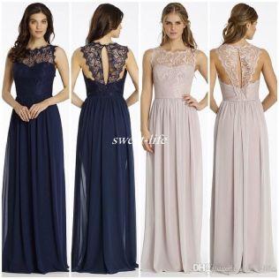 New Design Lace Bridesmaid Dresses Long Navy Blue Chiffon Backless