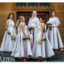 2018 Elegant Ball Gown Bridesmaid Dress High Neck Sleeveless Satin