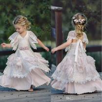 2018 Light Pink Bohemian Wedding Flower Girl Dresses Jewel Neck