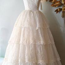 Vintage 1950's Wedding Dress 50s Eyelet Lace By Xtabayvintage