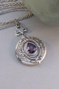 Victorian Amethyst,locket,antique Locket,silver Locket,amethyst