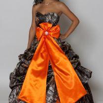 Camo & Hunter Orange Wedding Dress With Bow (i Would Personally