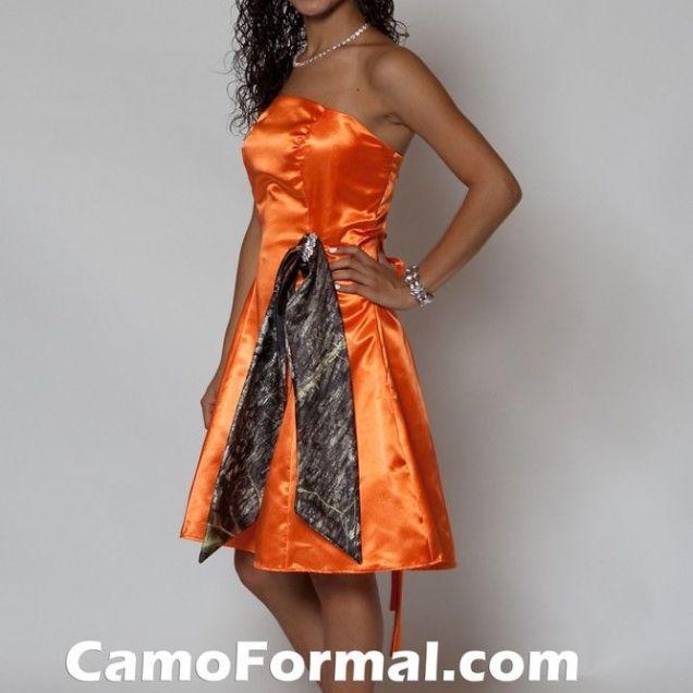 Long Orange Bridesmaid Dresses With Camo Sash