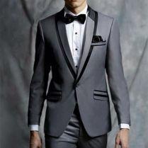 2017 Latest Coat Pant Designs Grey Tuxedo Jacket Prom Men Suit