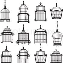 Set Of Ornamental Vintage Birdcage