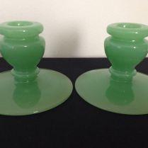 Vintage Fenton Jade Green Jadeite Green Glass Candle Holders