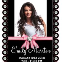 10 Personalised Diamond Bling Birthday Party Photo Invitations