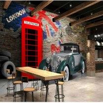 British Phone Booth Vintage Car Landscape Large Mural Wallpaper