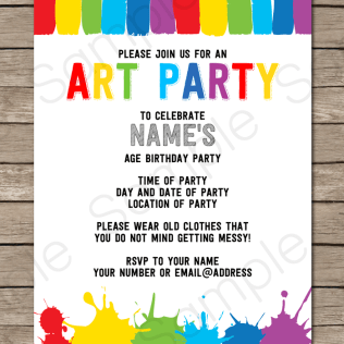 Art Party Invitations Template In 2019