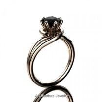 Classic 14k Rose Gold 1 0 Ct Black Diamond Designer Solitaire Ring