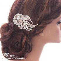 Crystal Bridal Hair Comb, Rose Gold Rhinestone Hair Comb, Crystal