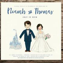 Custom Disney Painted Couple Portrait, Wedding Invitation Or