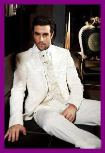 Custom Made Royal Designer White Linen Hot Groom Tuxedos Suits For