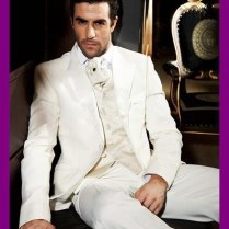 Custom Made Royal Designer White Linen Hot Groom Tuxedos Suits For