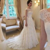 Custom Made Wanda Borges Wedding Dresses Cap Sleeve Illusion