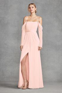 Long Sleeve Cold Shoulder Chiffon Bridesmaid Dress