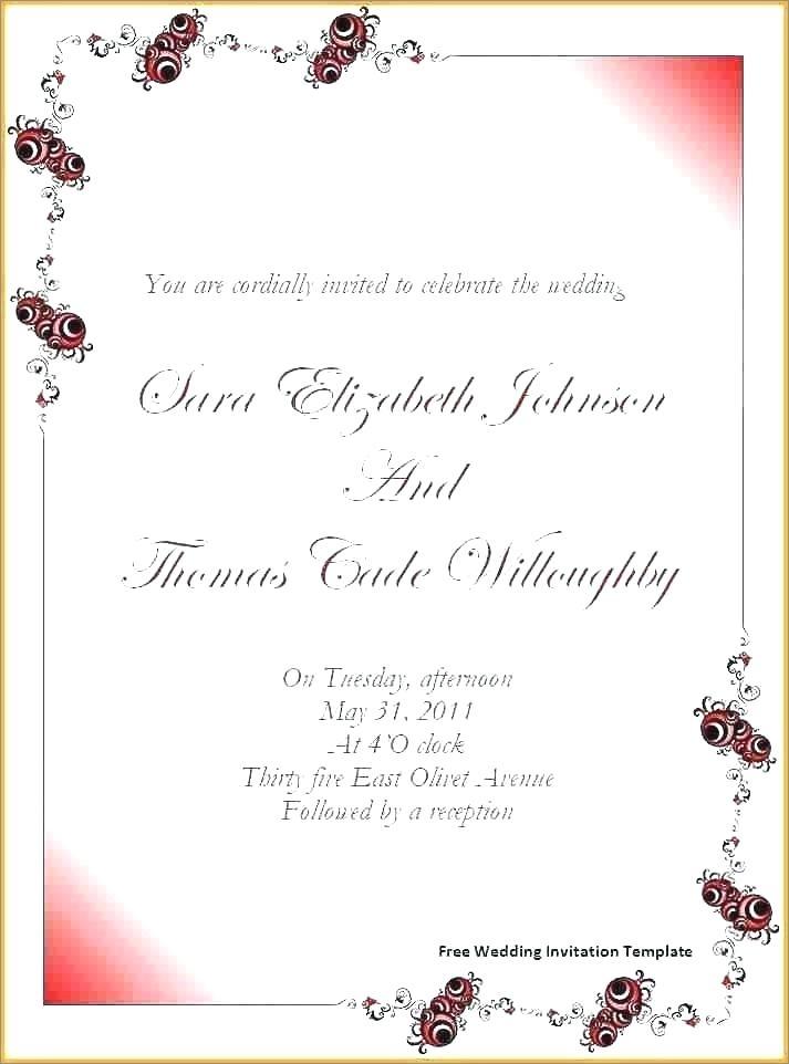 Wedding Invitation Templates Free For Word