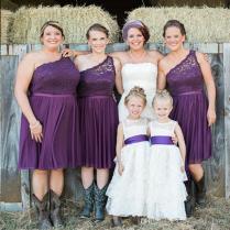 Elegant Purple Lace Short Bridesmaid Dresses One Shoulder Cheap