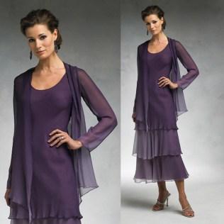 Purple Mother Of The Bride Dresses Tea Length — Divine Design
