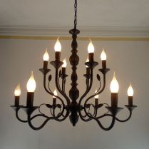Buy Luxury Rustic Wrought Iron Chandelier E14 Candle Black Vintage
