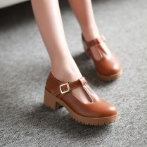 Fashion Round Toe T Strap Thick Heel Women Pumps Vintage Low