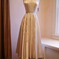 1940s Dress Vintage 40s 50s Wedding Dress Tea Length In Slipper
