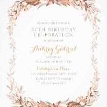 Floral Adult 50th Birthday Invitations