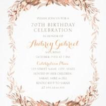 Floral Adult 70th Birthday Invitations