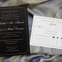 Formal Black With White Lettering And Border Wedding Invitations
