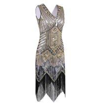 Great Gatsby Dress Women Sequins Dress V Neck Tassels Beaded Party